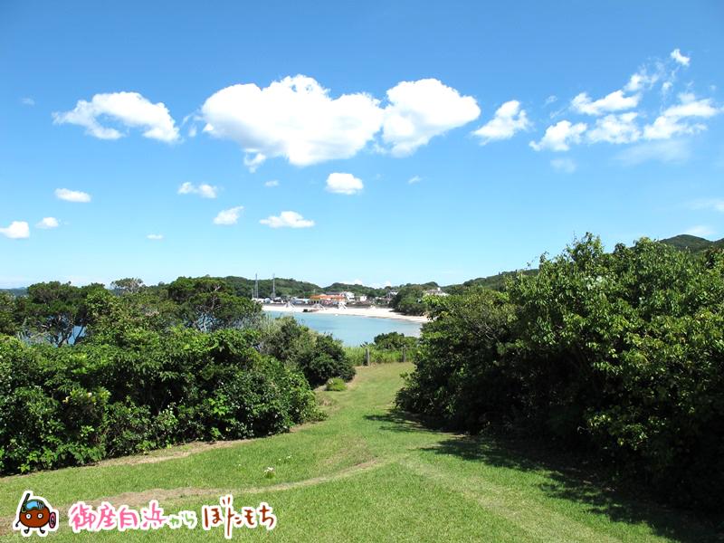 観光農園キャンプ村から見える御座白浜海水浴場~御座白浜海水浴場へも当施設から降りれます。~