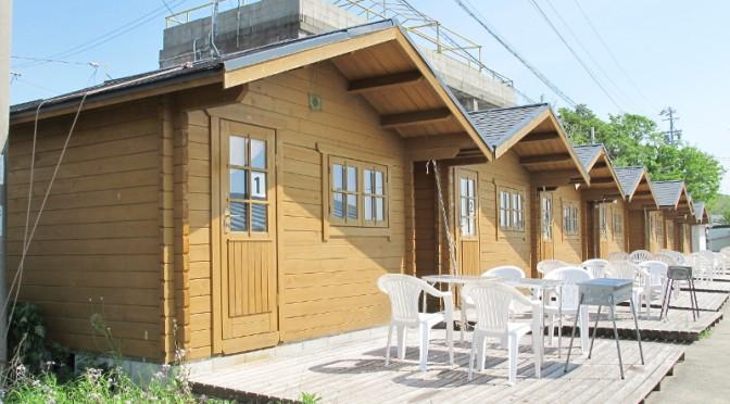 御座白浜キャンプ場のログハウスの外観